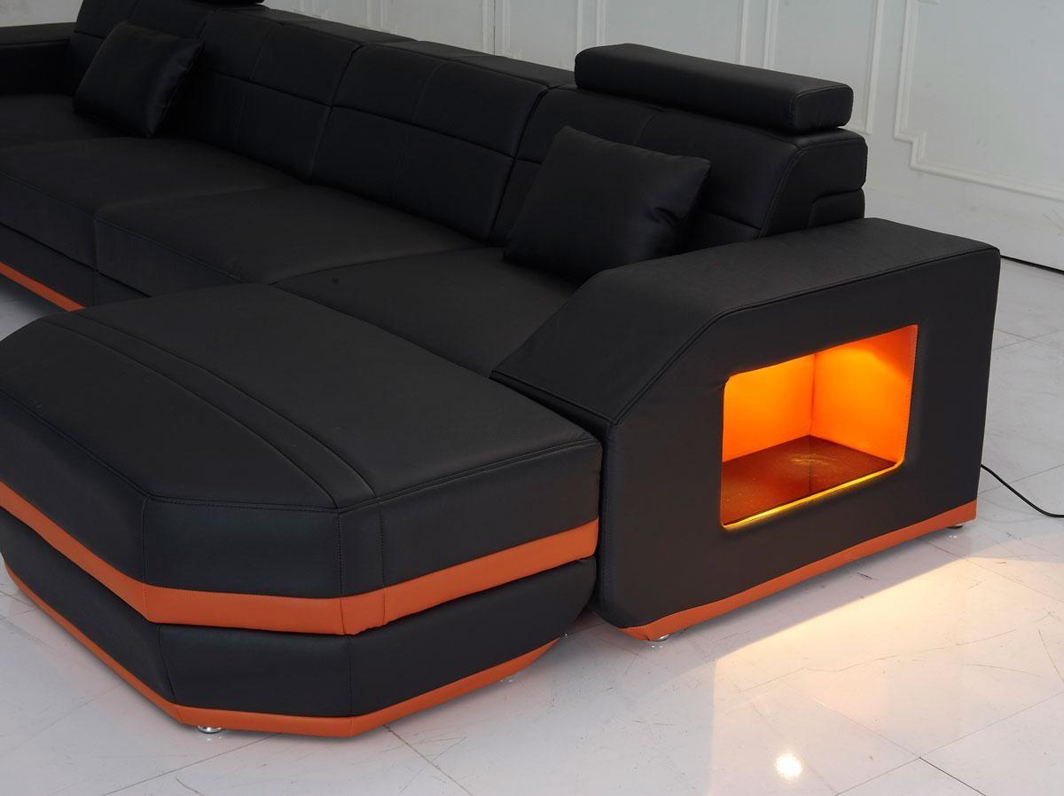 Monroe Modern Leather Sectional Sofa