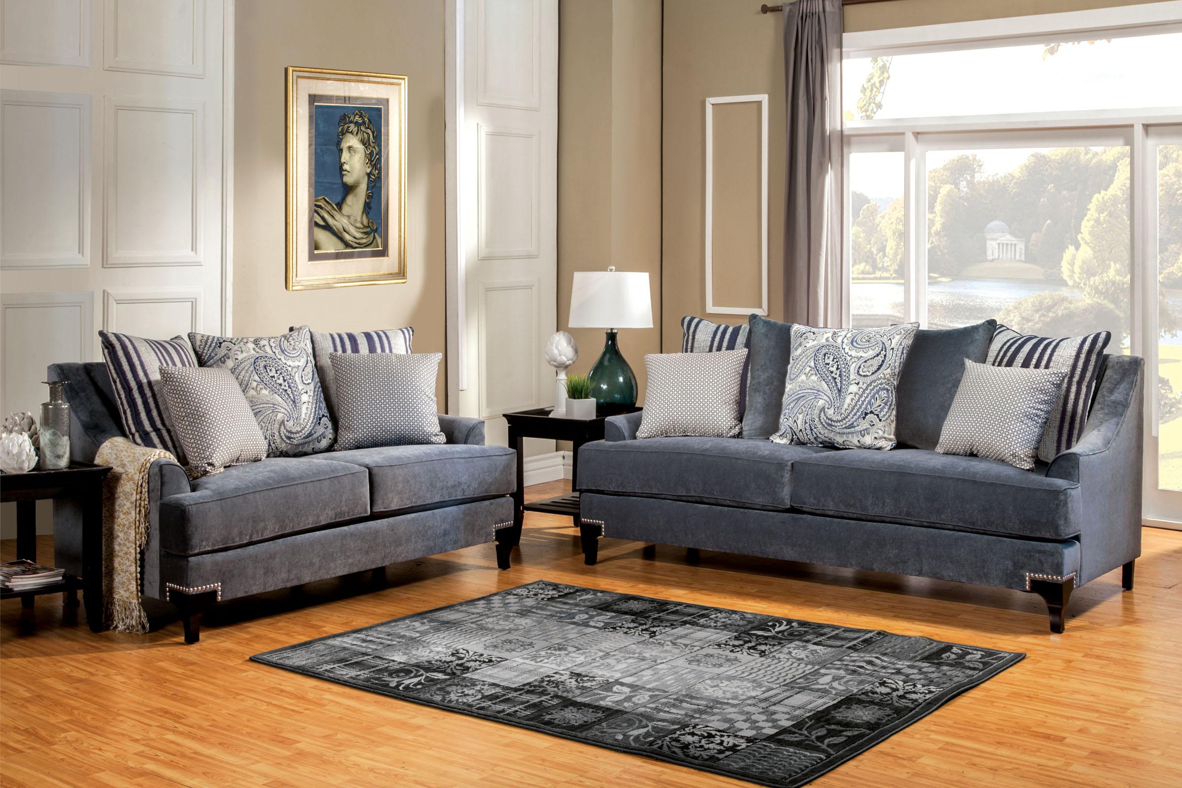Vittoria Slate Blue Sofa Set