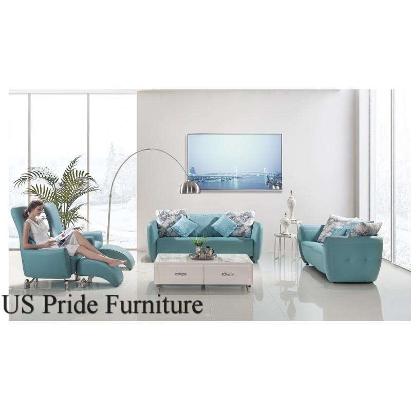 Light Blue Top Grain Leather Living Room Set Buy Furniture In La