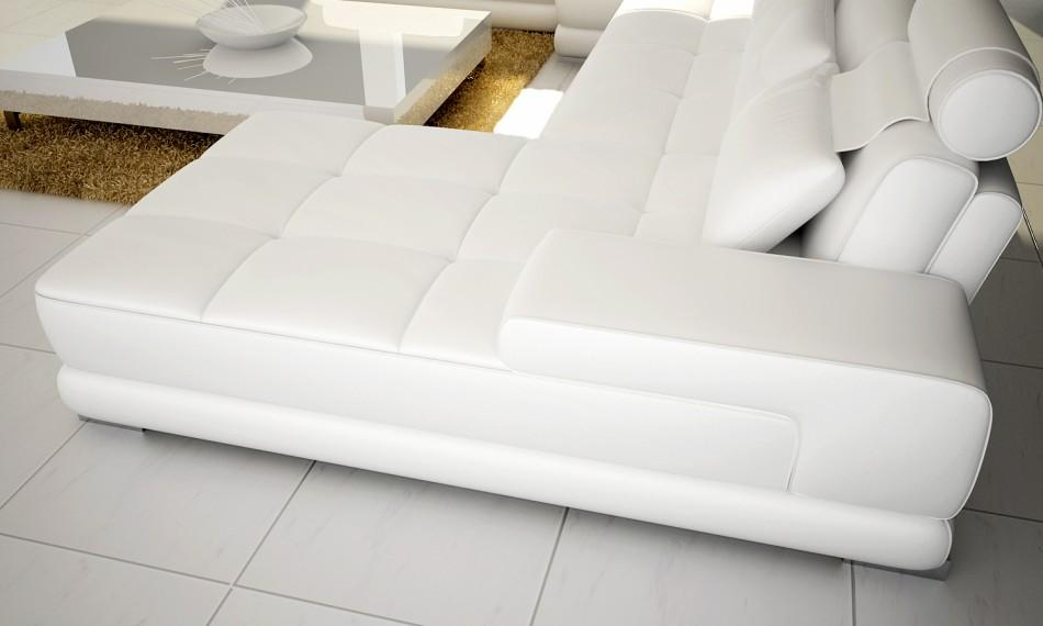 Divani Casa Phantom Modern White Half Leather Sectional Sofa w/ Ottoman and  Glass End Table