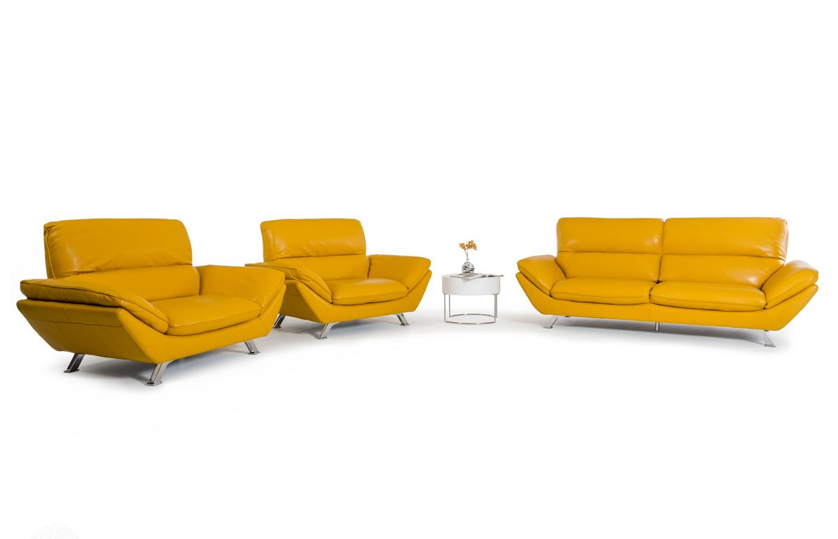 - Divani Casa Daffodil Modern Yellow Italian Leather Sofa Set - Buy