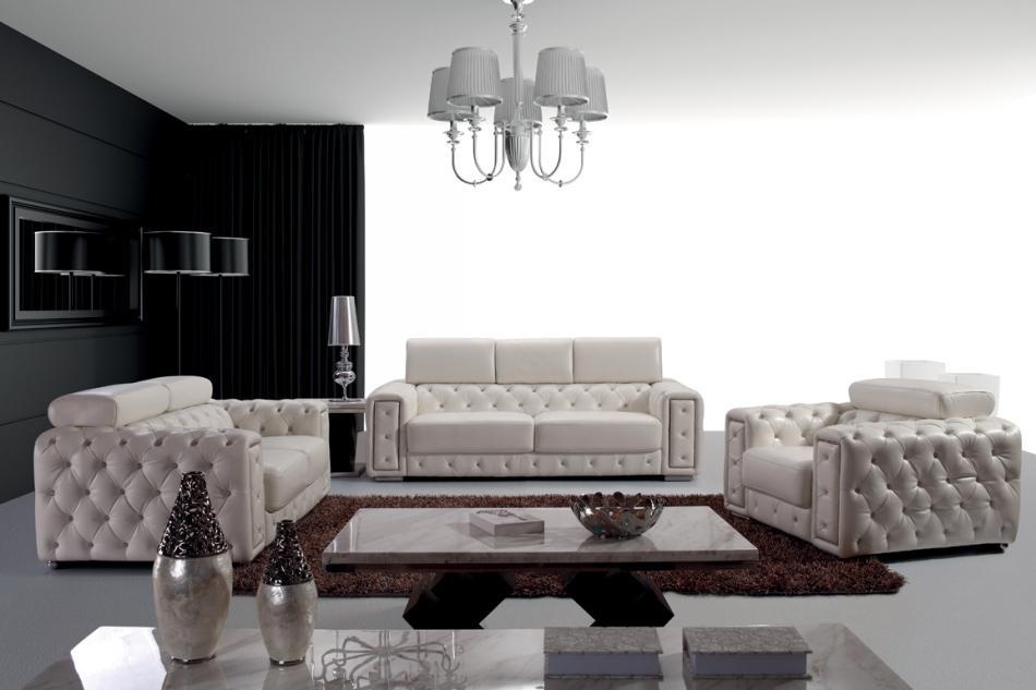 Divani Casa Lumy - Modern Tufted Leather Sofa Set