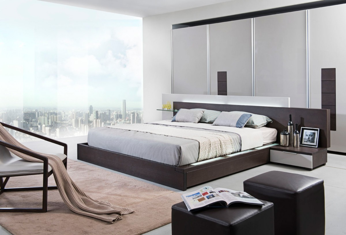 Modrest Gamma Contemporary Brown Oak Bed With Storage Furniture In La