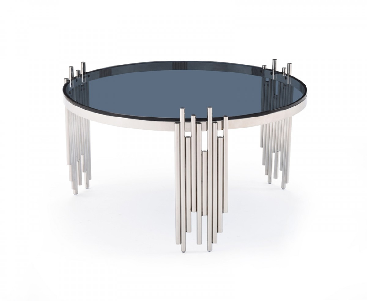 Modrest Totem Modern Stainless Steel Smoked Glass Coffee Table Buy Furniture In La