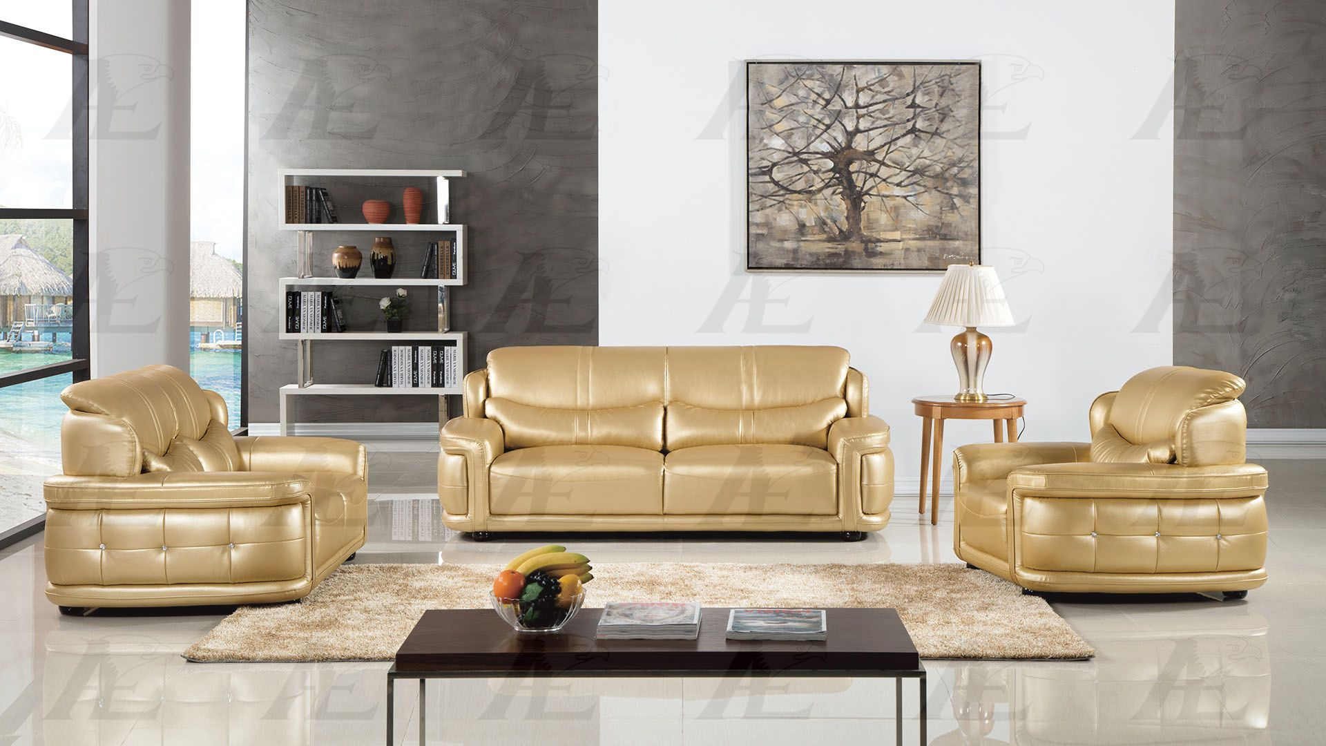 Magnificent Ae609 Golden Faux Leather Sofa Set Gmtry Best Dining Table And Chair Ideas Images Gmtryco